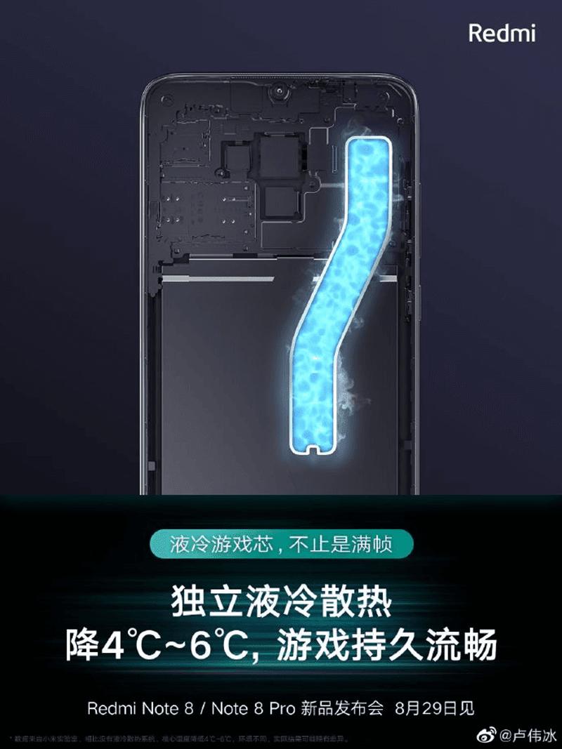 Redmi Note 8  Pro đi kèm với làm mát bằng chất lỏng và 4, Pin 500mAh, Redmi Note 8  chạy với SD665