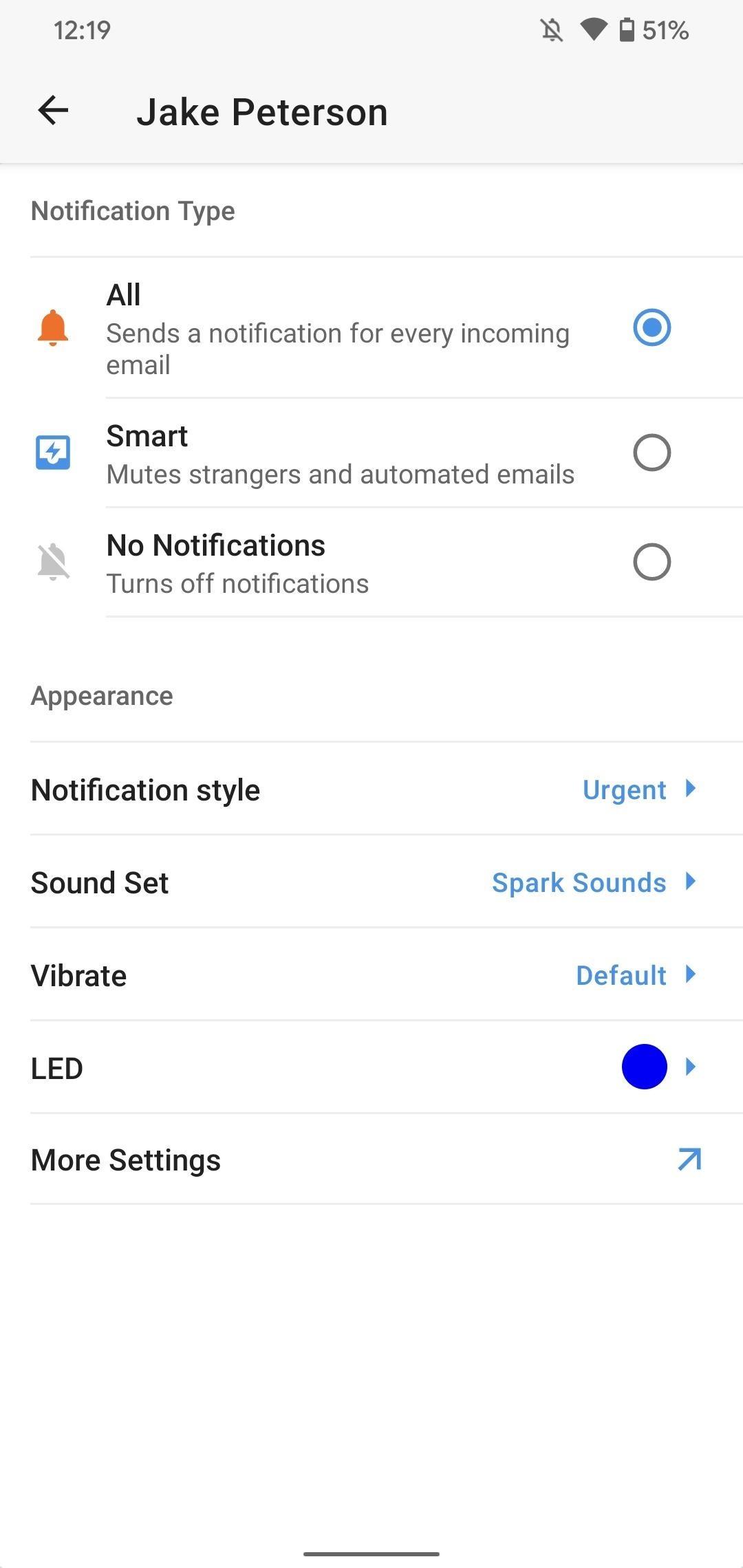 Tùy chỉnh Spark cho Android Thông báo với Đèn, Âm thanh & Rung