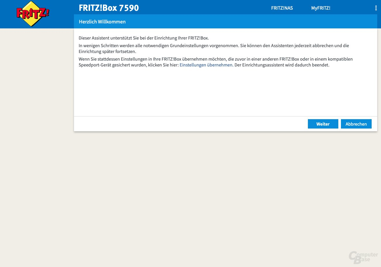 Giao diện người dùng của Fritz! Box 7590
