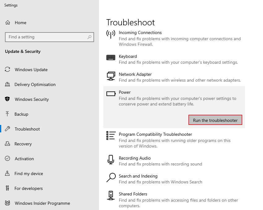Cách khắc phục Không phát hiện thấy pin Windows 10