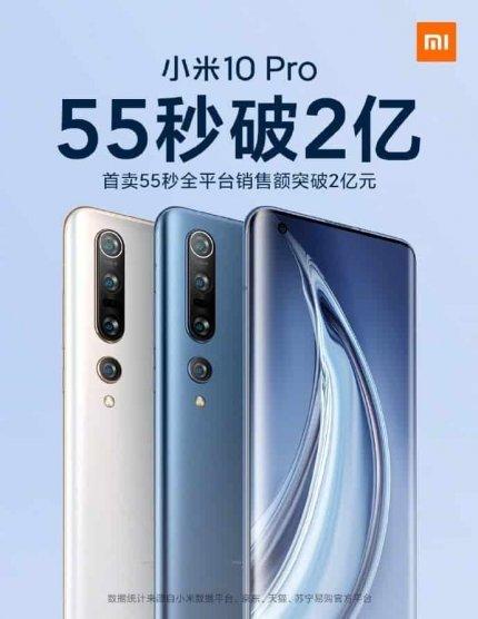 Xiaomi Mi 10 Pro đã lập kỷ lục doanh số mới tại Trung Quốc và vượt qua Mi 10 năm giây.