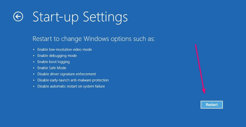 Khởi động lại để thay đổi windows tùy chọn khởi động