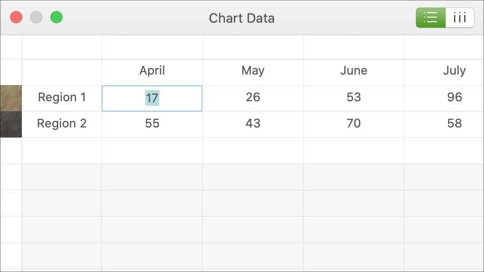 Biểu đồ dữ liệu Keynote Mac