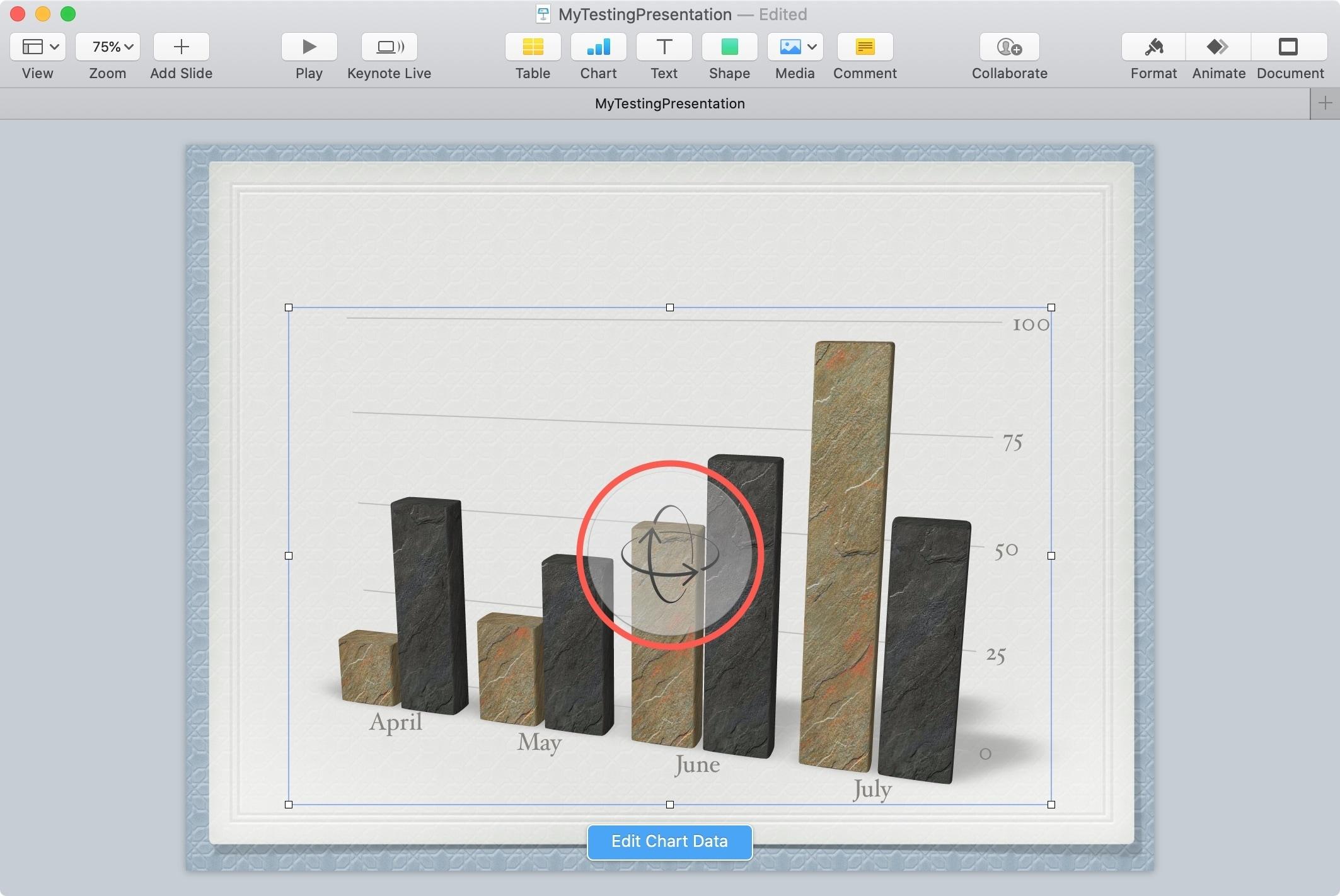 Keynote Mac cho điều khiển quay 3D