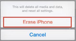 Xóa tùy chọn iPhone để xác nhận khôi phục một phần