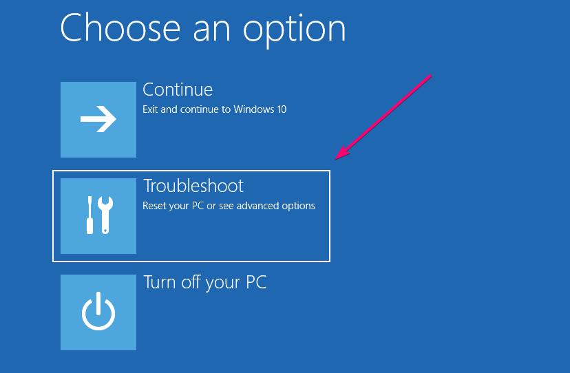 Windows  10 tùy chọn khắc phục sự cố