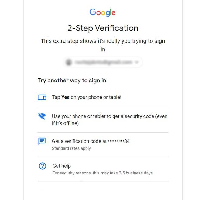 Cách đăng nhập vào Tài khoản Google mà không cần mã xác minh 2