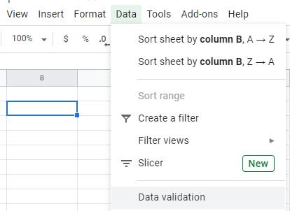 Google Sheets: Tạo danh sách thả xuống 2