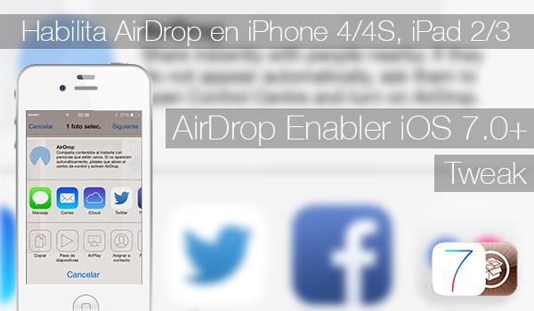Kích hoạt AirDrop trên iPhone và iPad Không tương thích với AirDrop Enabler iOS 7.0+