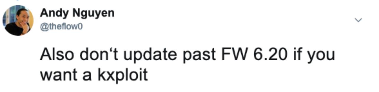PlayStation 4 Tin tức: TheFlow khuyên bạn nên ở lại FW 60,20 hoặc ít hơn nếu bạn muốn hack bảng điều khiển của mình - kxploit hiện đang hoạt động!