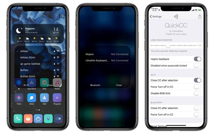 QuickCC Tweak có menu Wi-Fi và Bluetooth giống như iOS 13 cho iOS 12