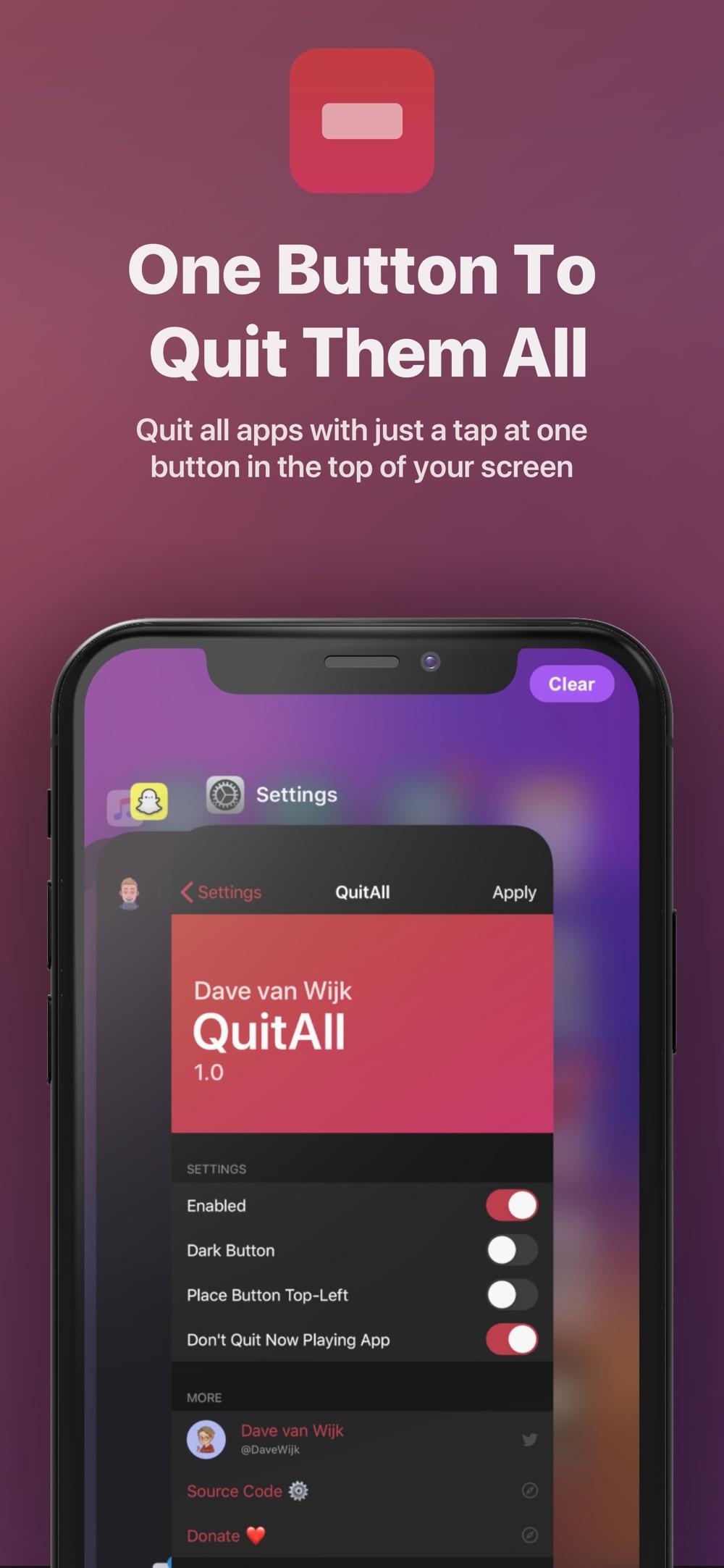 QuitAll cho phép bạn đóng tất cả các ứng dụng Trình chuyển đổi ứng dụng chỉ bằng một chạm