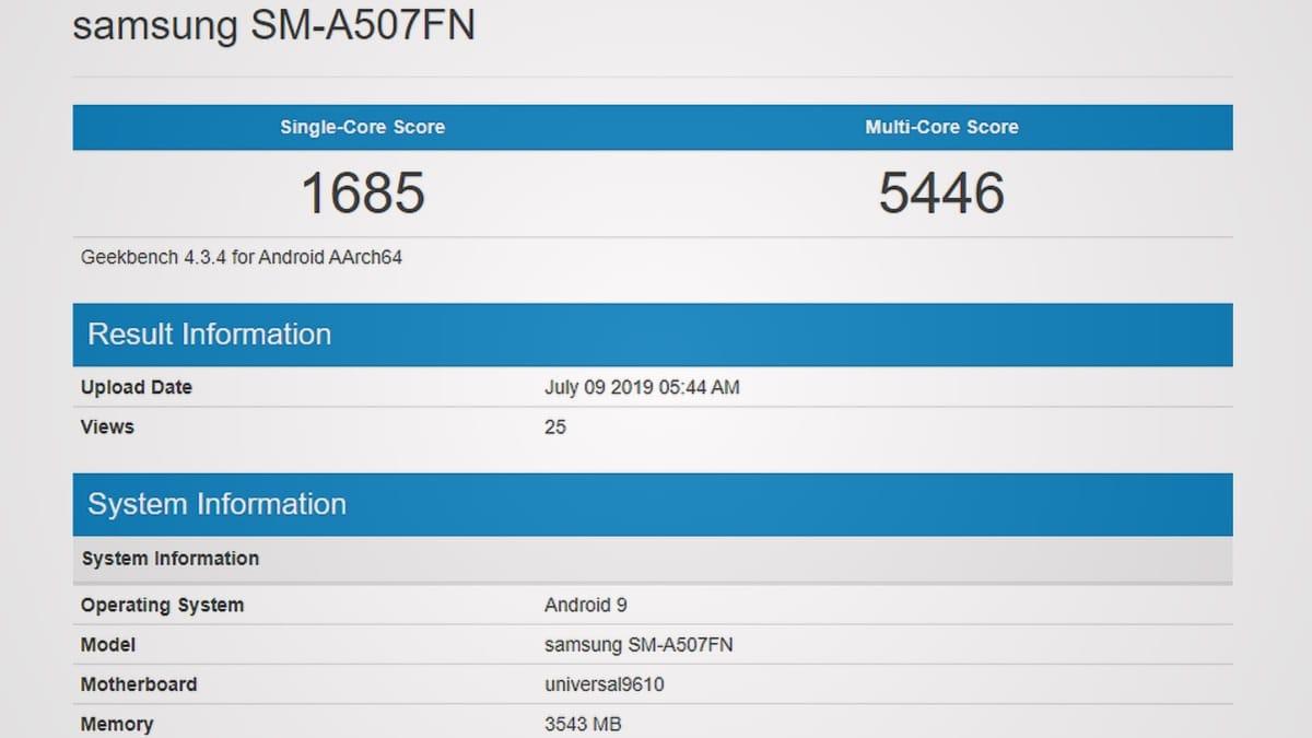 Samsung Galaxy A50 được thấy trên Geekbench với Exynos 9610 SoC, RAM 4GB