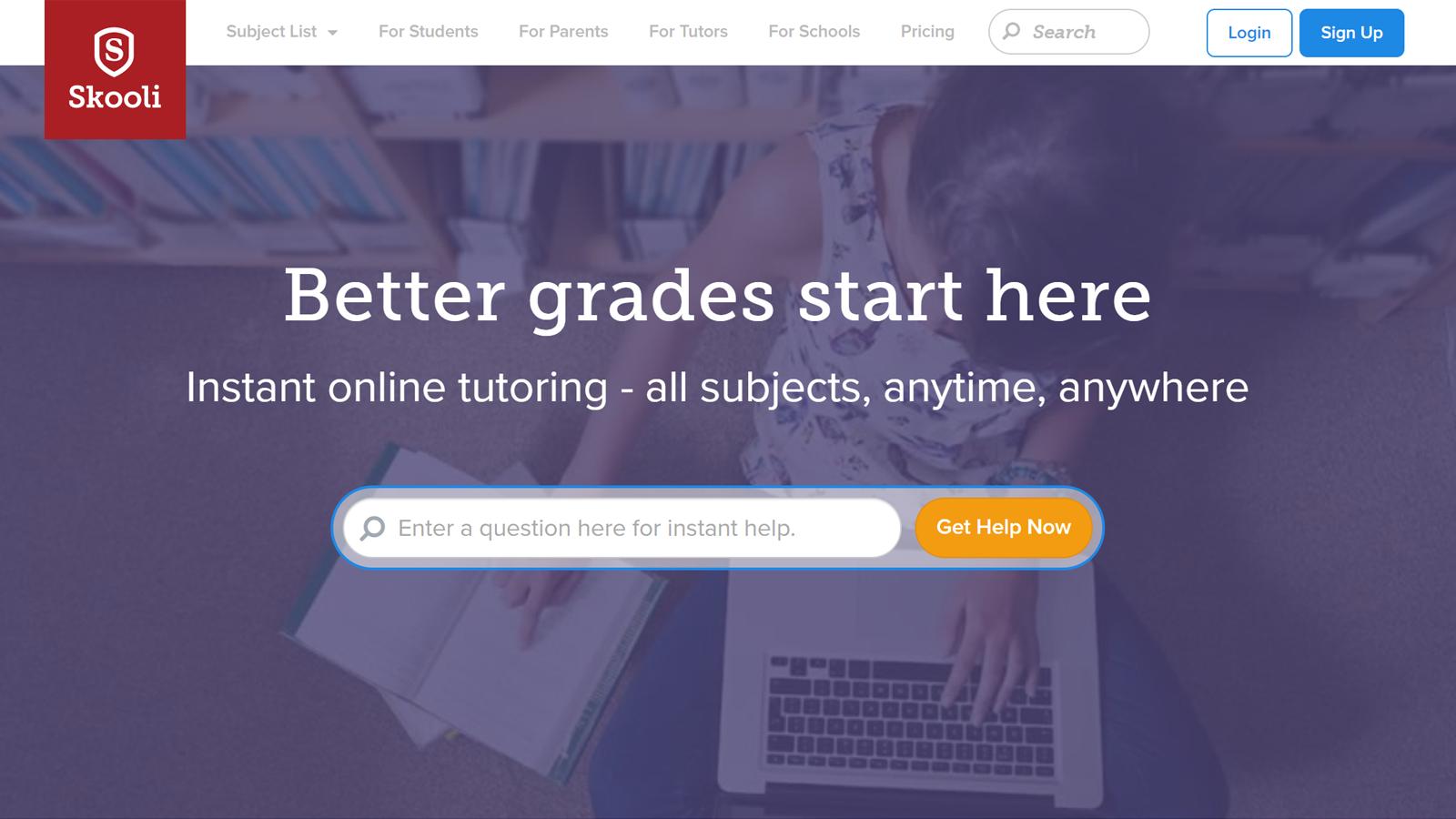 Trang chủ Skooli với đảm bảo điểm tốt hơn và các tùy chọn dạy kèm