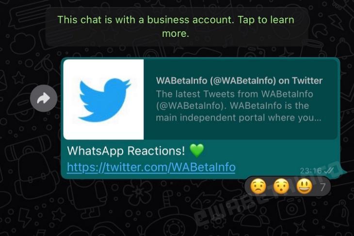 Phản ứng tin nhắn WhatsApp Cái nhìn đầu tiên