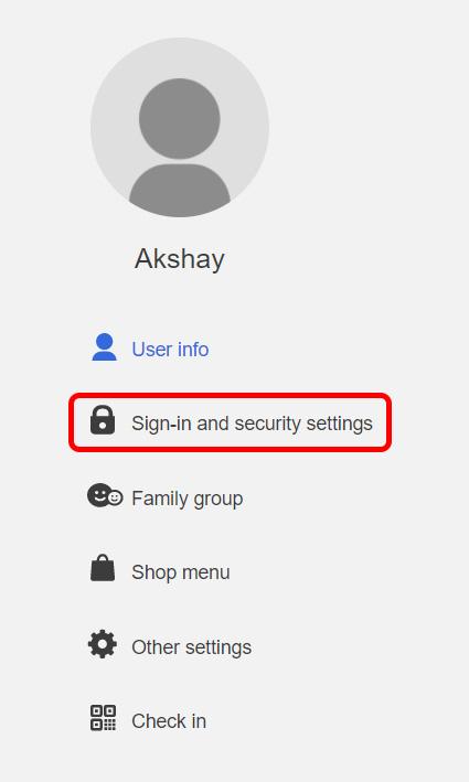 nhấp vào đăng nhập và cài đặt bảo mật