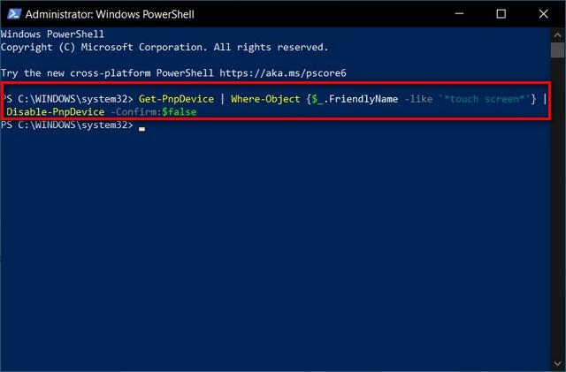 PowerShell Tắt màn hình cảm ứng trong Windows 10