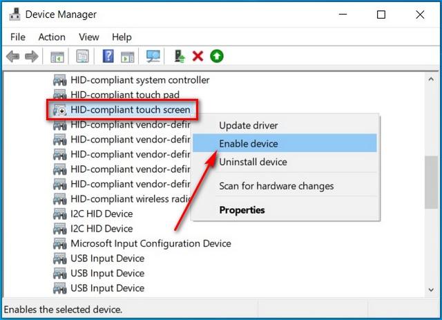 Bật Màn hình cảm ứng trong Windows 10