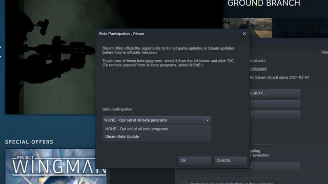 đăng ký Steam beta