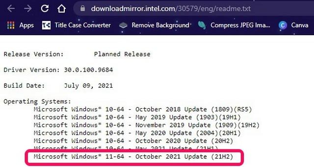 Gợi ý Tài liệu Intel vào Ngày phát hành có thể Windows 11