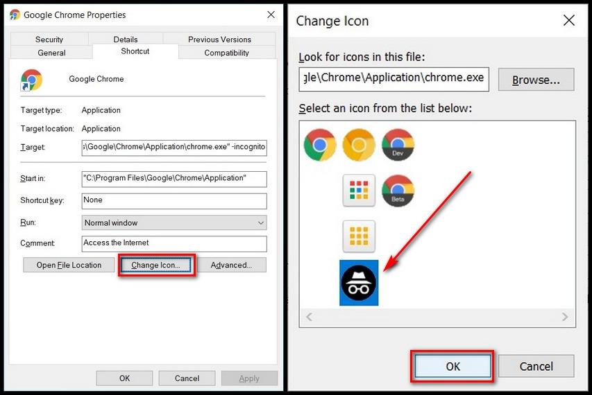 Google Chrome thay đổi biểu tượng lối tắt