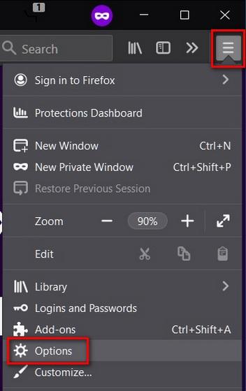 Mở cài đặt Mozilla Firefox