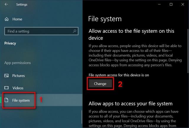 Windows  10 cài đặt hệ thống tệp