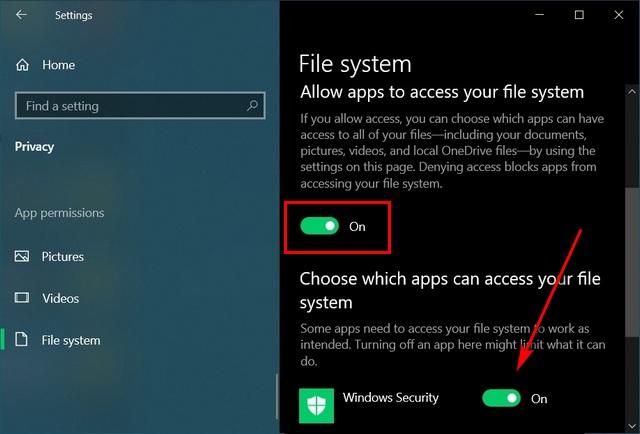 Bật hoặc tắt quyền truy cập hệ thống tệp cho các ứng dụng trong Windows 10