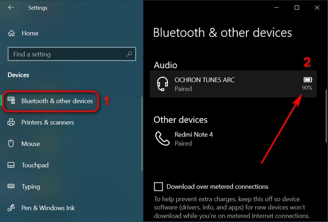 Cách kiểm tra mức pin của tai nghe Bluetooth trong Windows 10