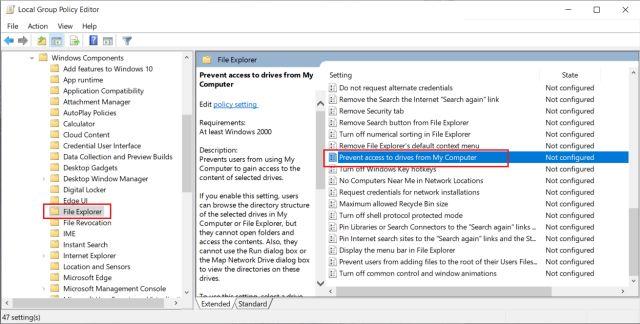 Hạn chế quyền truy cập ổ cứng vào tài khoản cục bộ trên Windows 10 (năm 2021)