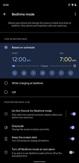 các tính năng của chế độ giờ đi ngủ