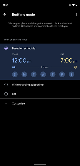 định cấu hình chế độ giờ đi ngủ dựa trên lịch trình