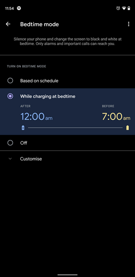 chế độ giờ đi ngủ trong khi sạc điện thoại