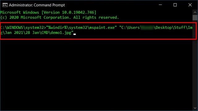 Chỉ định một ứng dụng để mở tệp bằng Command Prompt