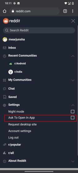 Tắt cửa sổ bật lên 'Mở trong ứng dụng' trên Reddit (2021)