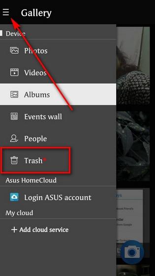 Thư mục thùng rác trong ứng dụng Thư viện