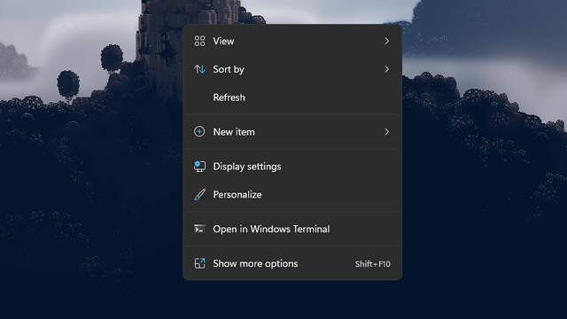 tùy chọn làm mới trong menu nhấp chuột phải chính windows 11
