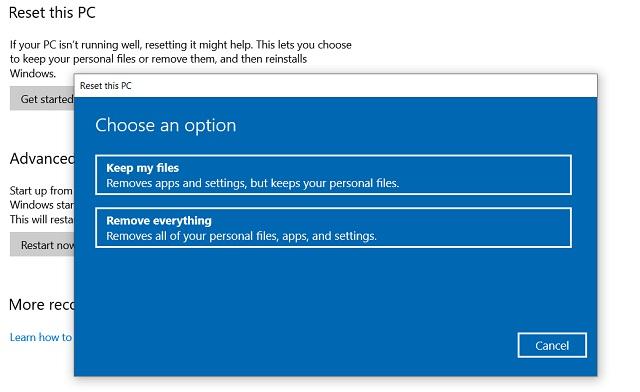 Cài lại Windows 10