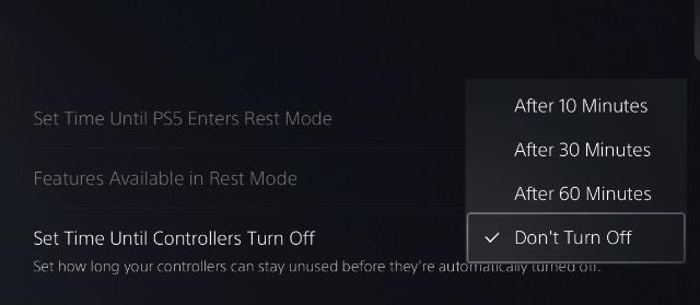 chọn tự động tắt thời gian bộ điều khiển dualsense