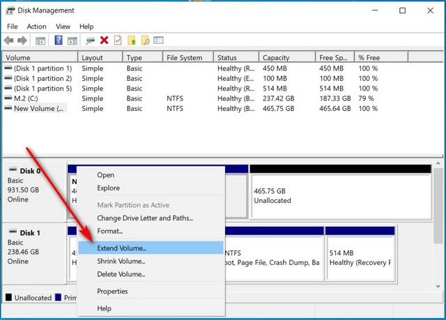 Hợp nhất nhiều phân vùng đĩa cứng trong Windows 10 mở rộng âm lượng