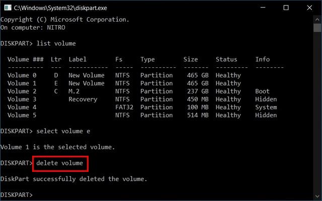 xóa khối lượng Hợp nhất nhiều phân vùng đĩa cứng bằng Diskpart