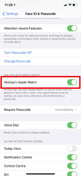 sử dụng apple watch để mở khóa iPhone