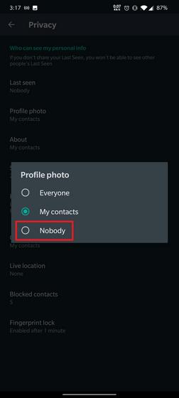 thay đổi quyền riêng tư của pfp whatsapp