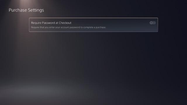 kích hoạt yêu cầu mật khẩu để thanh toán ps5