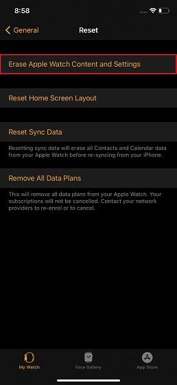 Tẩy xóa Apple Watch nội dung và dữ liệu