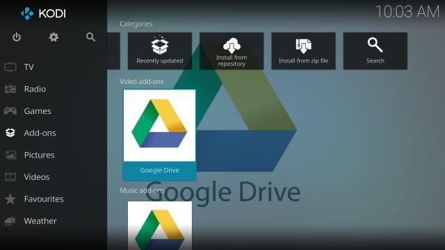 google drive trên kodi