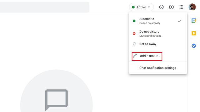 thêm trạng thái tùy chỉnh trò chuyện trên google