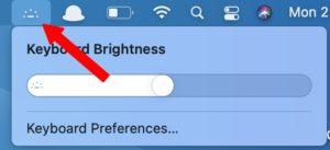 thanh menu chuyển đổi độ sáng bàn phím