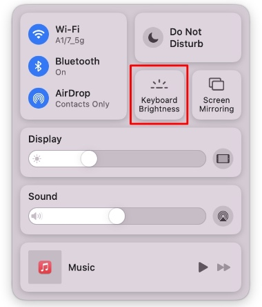 điều chỉnh trung tâm điều khiển độ sáng bàn phím