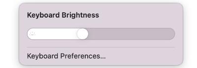 điều chỉnh thanh trượt độ sáng bàn phím